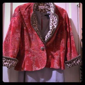 3 Sisters paisley/leopard velvet tuxedo blazer